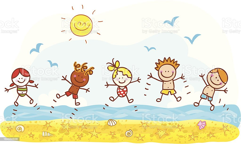 Happy Summer Holiday Kids Jumping At Beach Ocean Cartoon Illustration Royalty Free