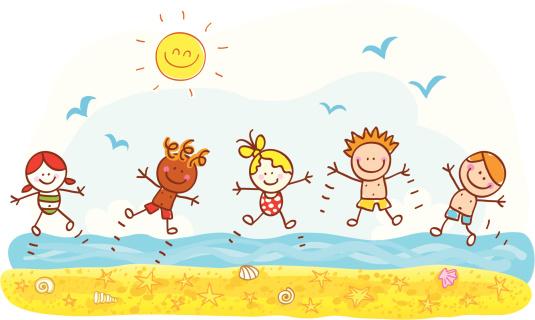 happy summer holiday kids jumping at beach ocean cartoon illustration