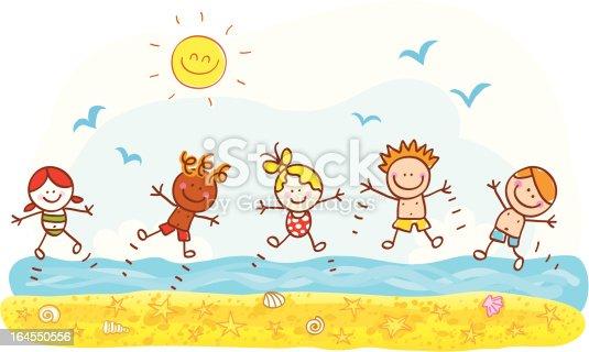 istock happy summer holiday kids jumping at beach ocean cartoon illustration 164550556