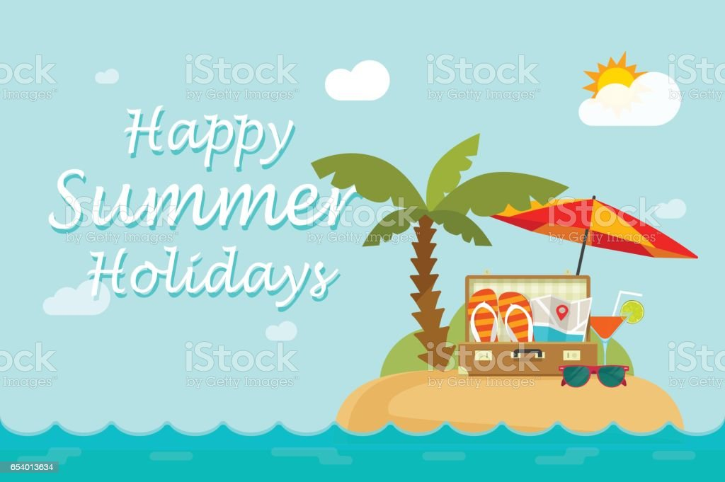 Happy Summer Holidays Text On Paradise Sand Island Nature Landscape Royalty Free Stock Vector Art