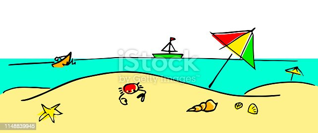 Colorful vector illustration of a summertime beach in childish style.