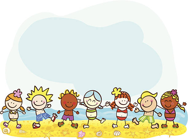 happy sommer kinder am strand vektor-cartoon illustration - meereslebenskindergarten stock-grafiken, -clipart, -cartoons und -symbole