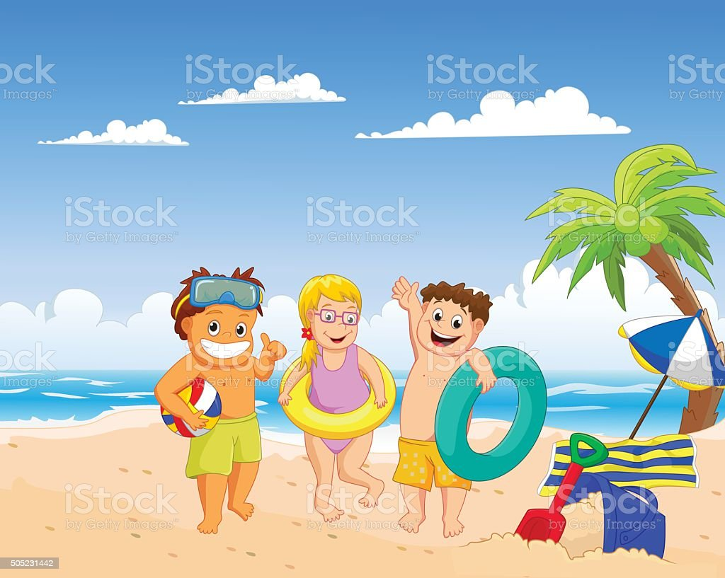 happy summer kids on the beach vector art illustration