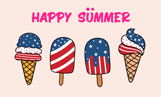 Happy Summer, Patriotic Ice cream and popsicle set with stripe and stars, cartoon doodle vector illustration