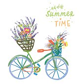 Happy summer time card with bicycle and flowers
