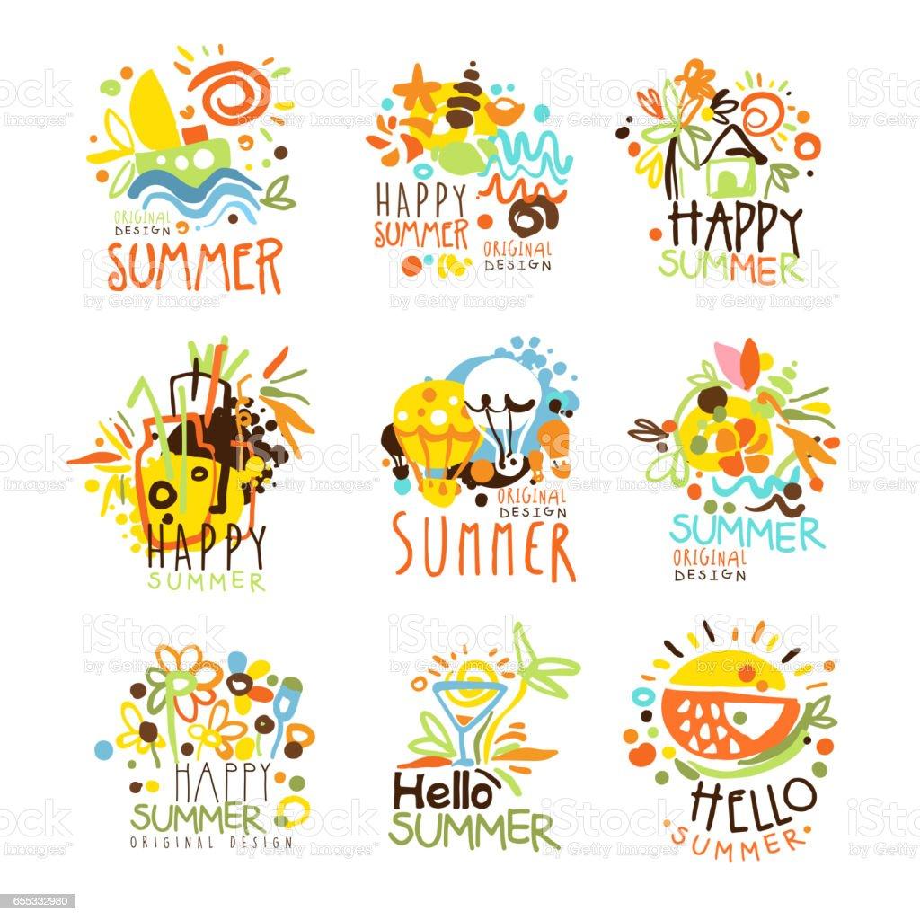 Happy Summer Vacation Sunny Colorful Graphic Design Template Logo Set, Hand Drawn Vector Stencils vector art illustration