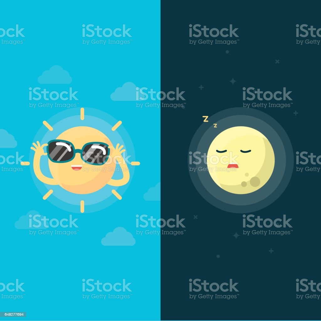 Happy Sun and moon, Day and night concept, Vector illustration. vector art illustration