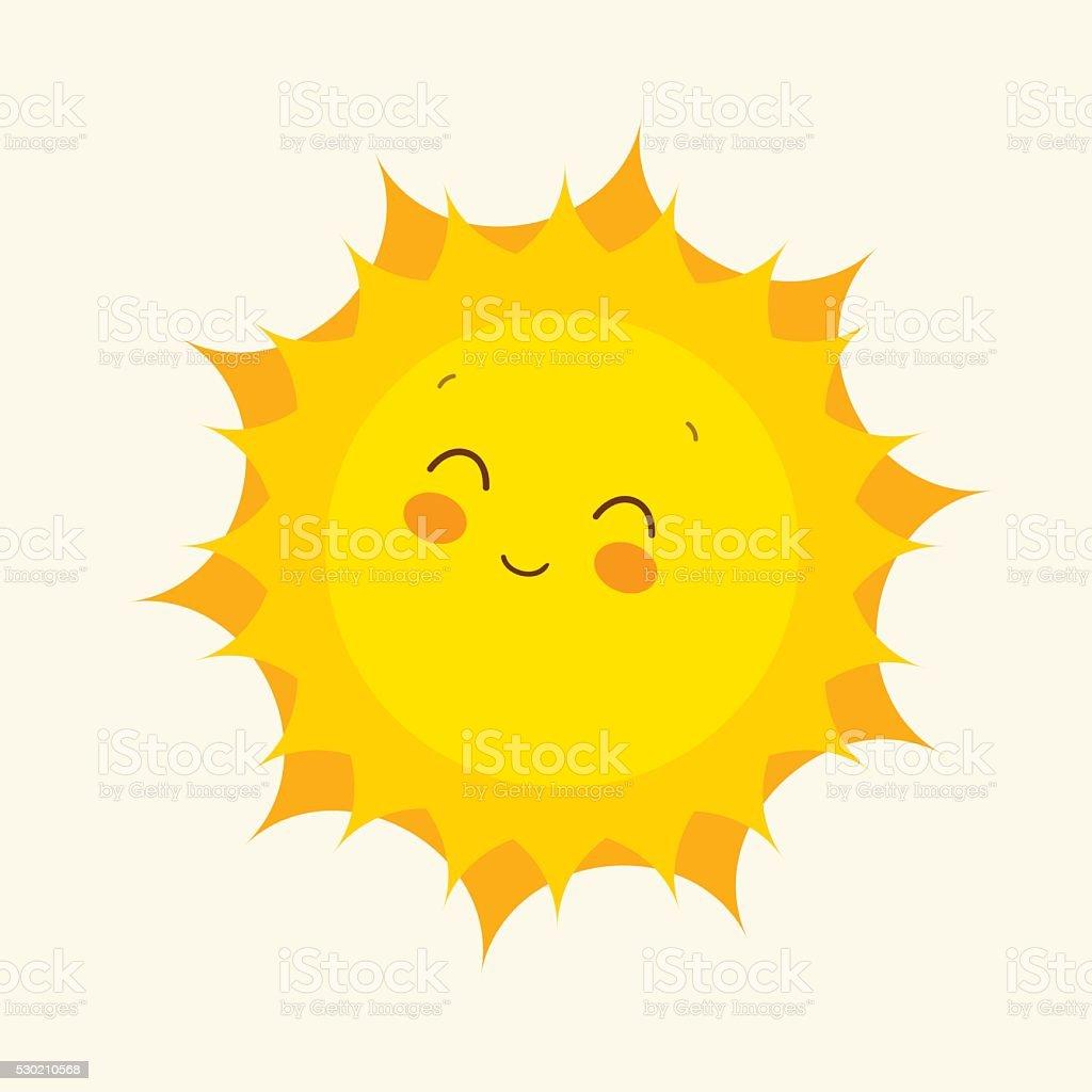 Happy sun icon. Vector illustration