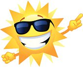 Smiling sun making a number 1 sign. Professional clip art for your print project or Web site.