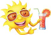 Happy sun with cocktail. High Resolution JPG,CS5 AI and Illustrator EPS 10 (with transparency effects) included. Each element is named,grouped and layered separately.