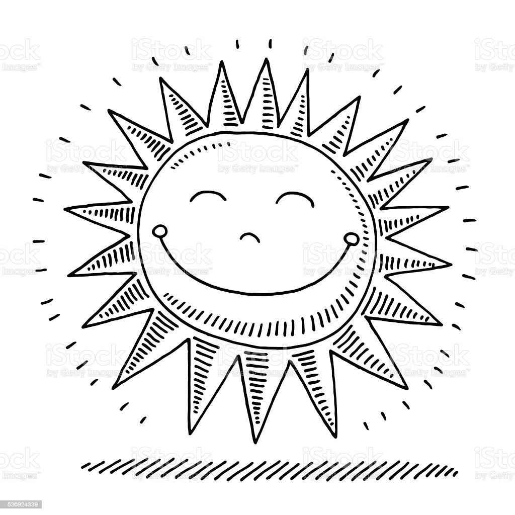 Happy Sunshine Drawing vector art illustration