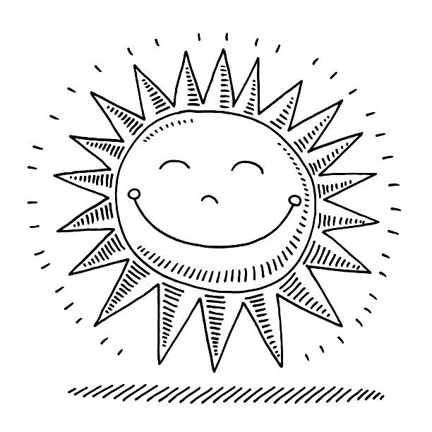 Happy Sunshine Drawing Hand-drawn vector drawing of a Happy Cartoon Sun. Black-and-White sketch on a transparent background (.eps-file). Included files are EPS (v10) and Hi-Res JPG. environment stock illustrations