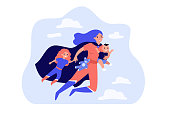 Happy superhero mother flying and carrying children