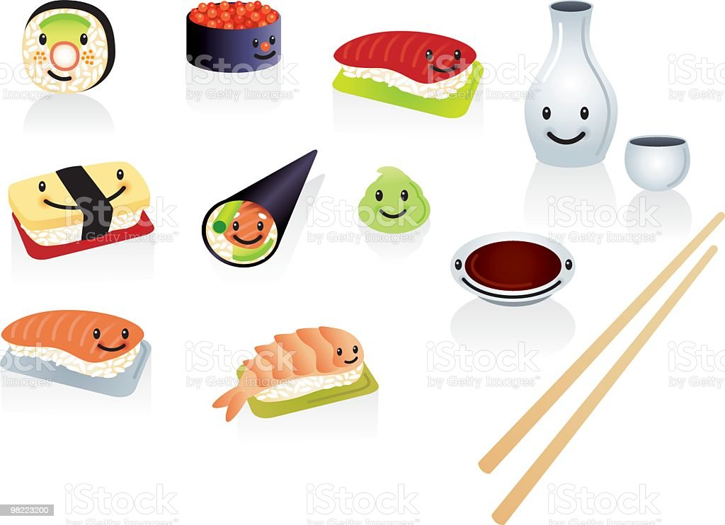Happy Sushi royalty-free happy sushi stock vector art & more images of avocado
