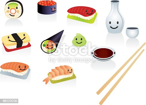 Happy Sushi Stock Vector Art & More Images of Avocado 98223200