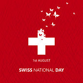 Happy Swiss National day. Vector illustration. Switzerland. Swiss flag with butterflies. Independence day. Switzerland republic day greeting card