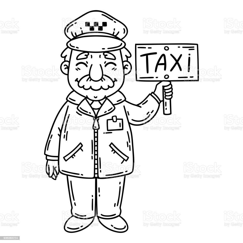 Mutlu Taksi şoförü Boyama Sayfası Stok Vektör Sanatı Adamlarnin