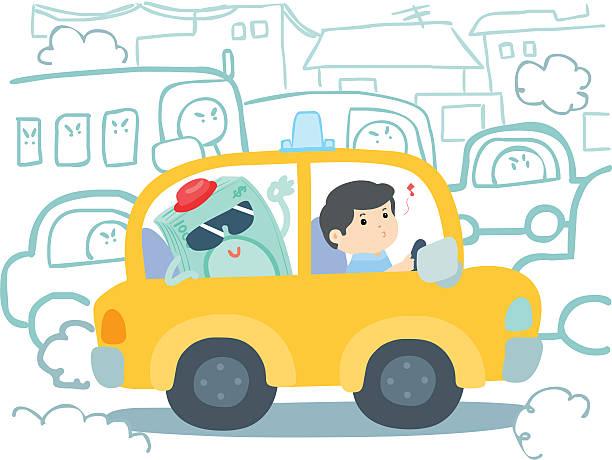 illustrazioni stock, clip art, cartoni animati e icone di tendenza di marmellata di traffico di taxi in vettoriale cartton - deadly sings