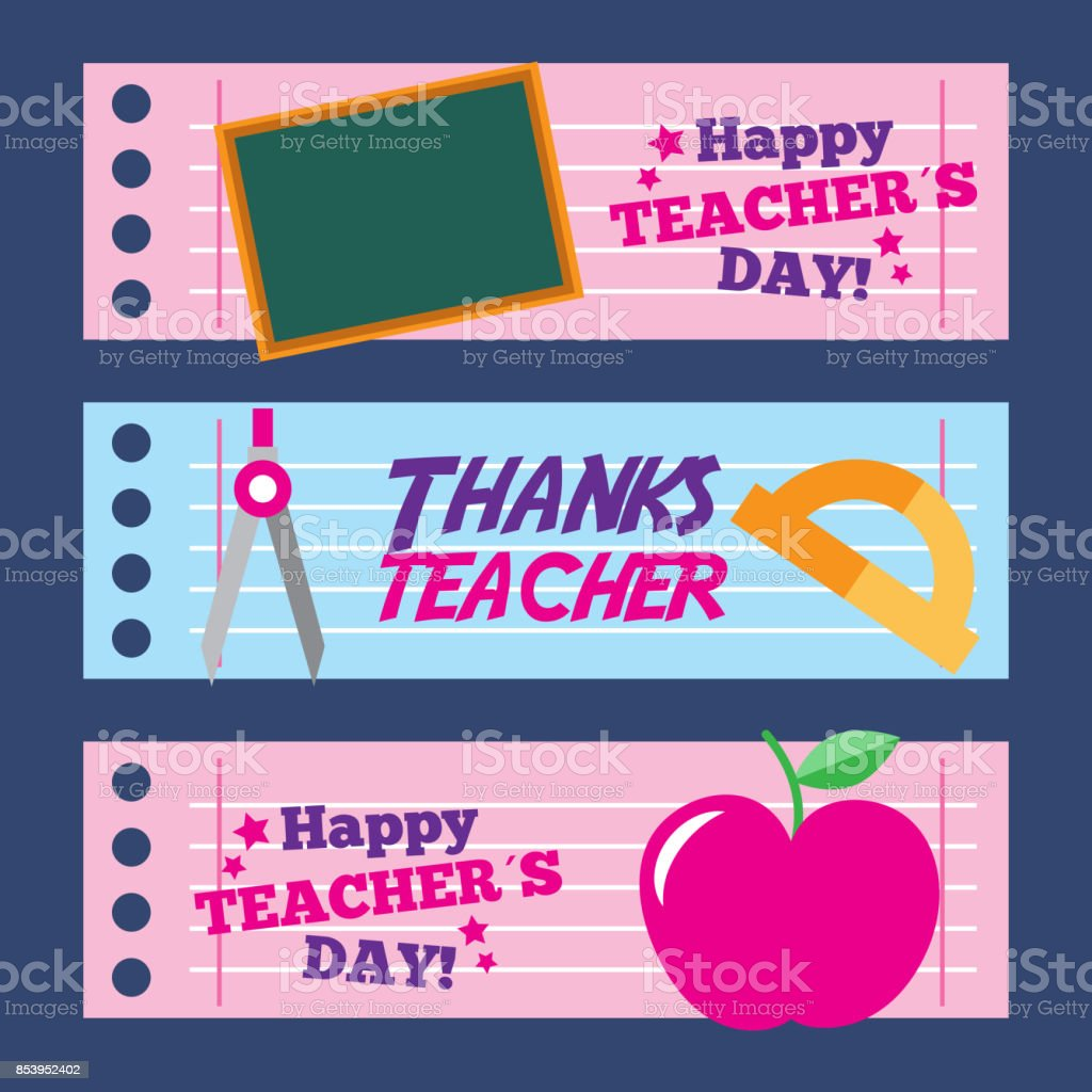 happy teacher day card thanks greeting decoration stock