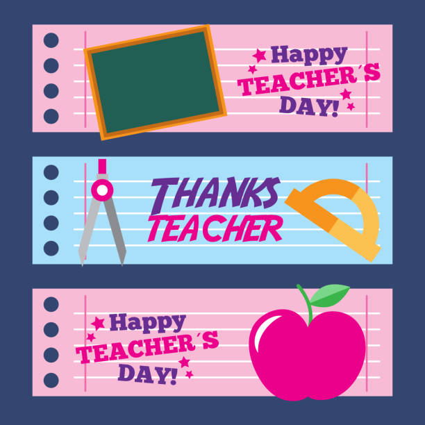 happy teacher day card thanks greeting decoration - thank you teacher stock illustrations, clip art, cartoons, & icons
