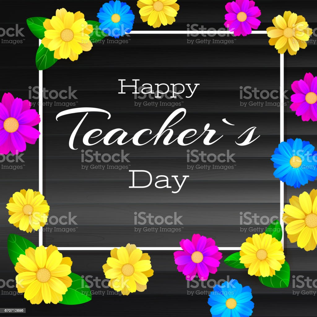 Happy Teacher Day Greeting Banner For Your Congratulations Cards