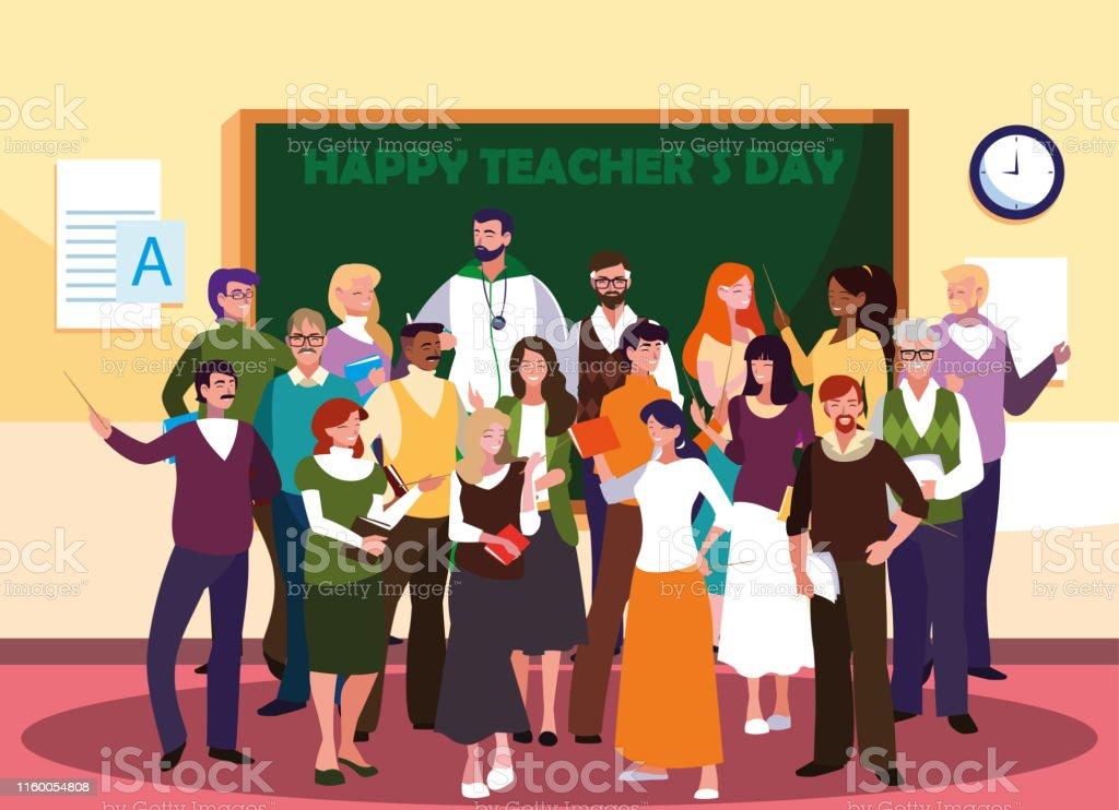 happy teacher day with group of teachers vector illustration design