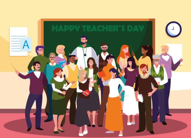 ilustrações, clipart, desenhos animados e ícones de dia do professor feliz com o grupo de professores - professor