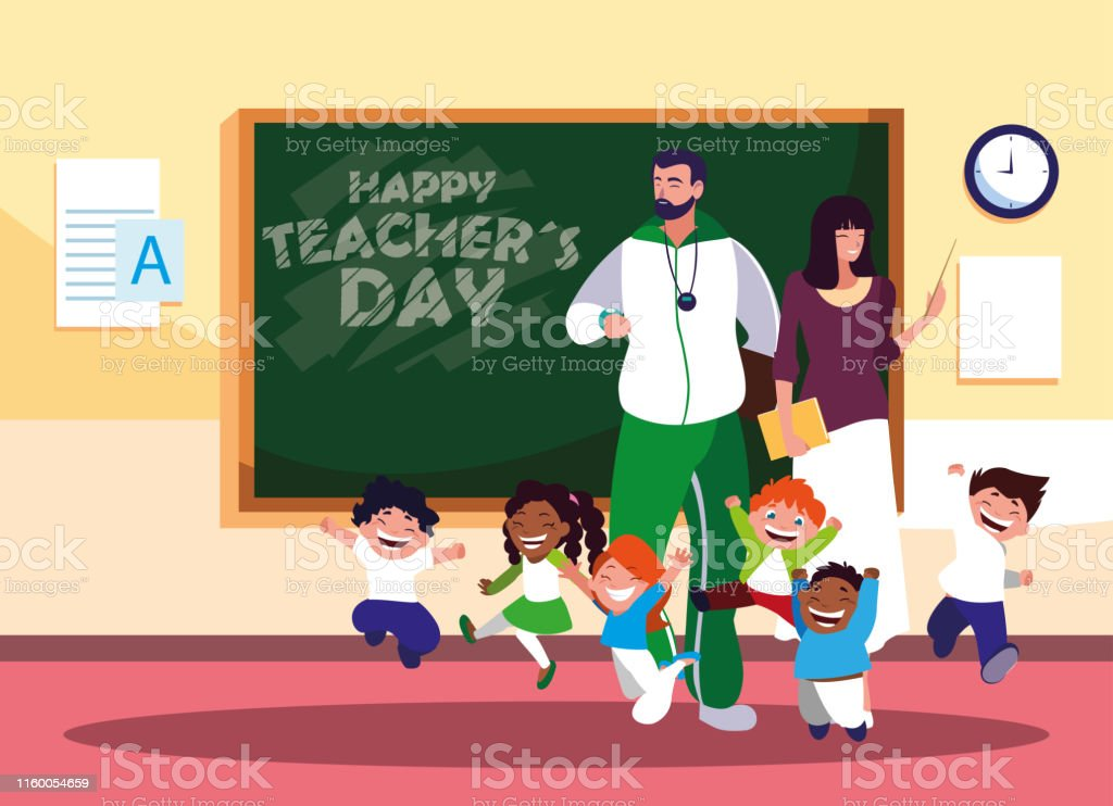happy teacher day with teachers and students in classroom vector...