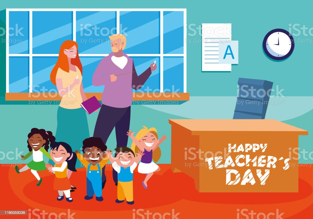 happy teacher day with teachers and students in school vector...
