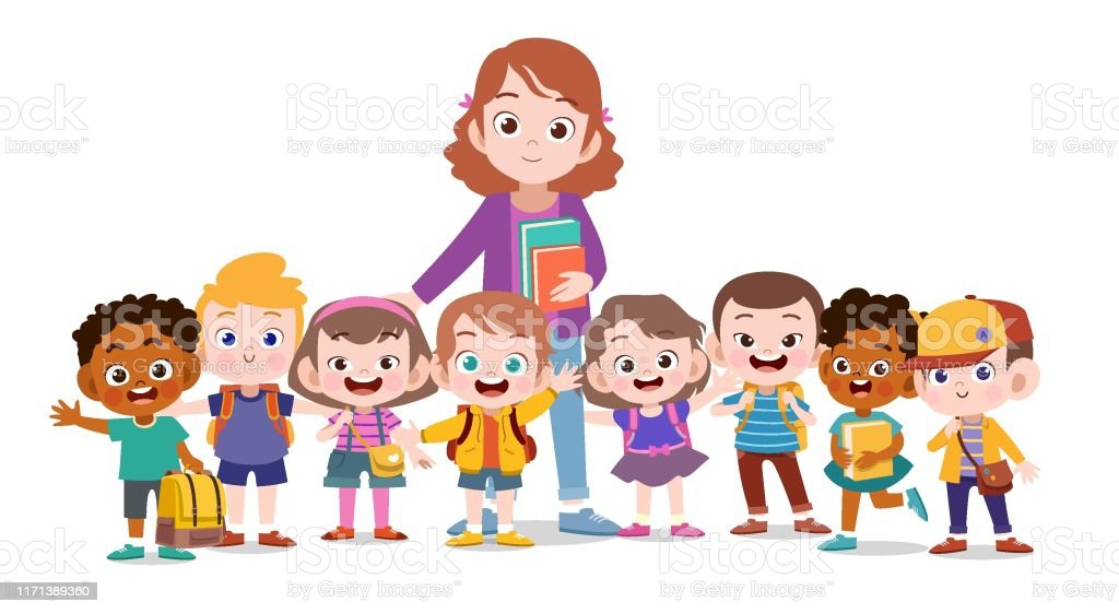 Image result for free clipart happy teacher and children