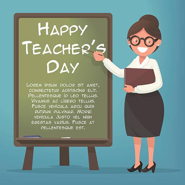 Happy Teacher's Day. A kind teacher stands at the blackboard Happy Teacher's Day. A kind teacher stands at the blackboard elementary age stock illustrations
