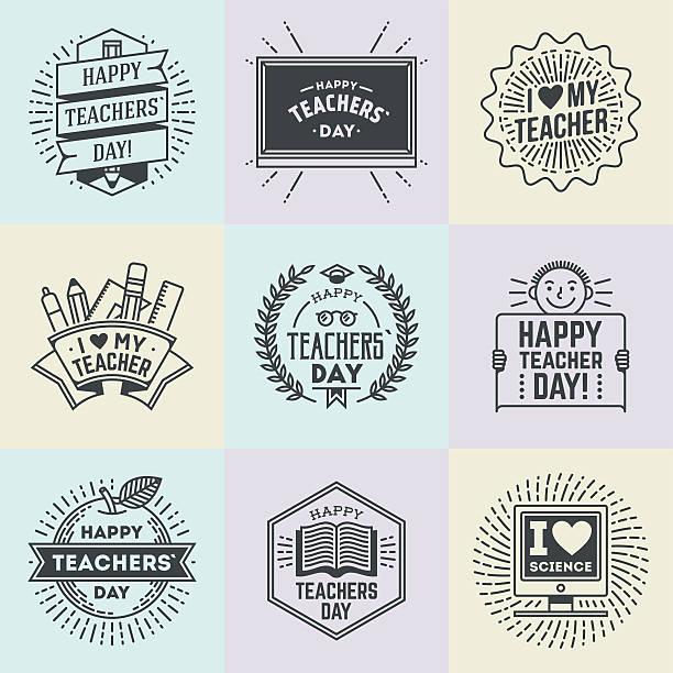 happy teachers` day assorted design insignias logotypes set 1. - thank you teacher stock illustrations, clip art, cartoons, & icons