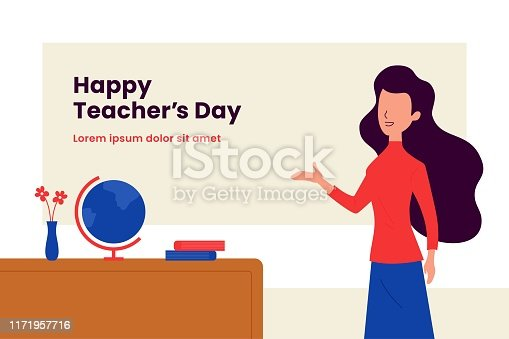 istock Happy teacher's day background poster template. Long hair woman teacher with explain gesture hand vector illustration in front of the class room scene. Simple flat color graphic design 1171957716
