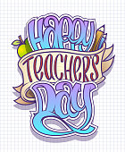 Happy teacher's day card, poster or holiday banner vector design