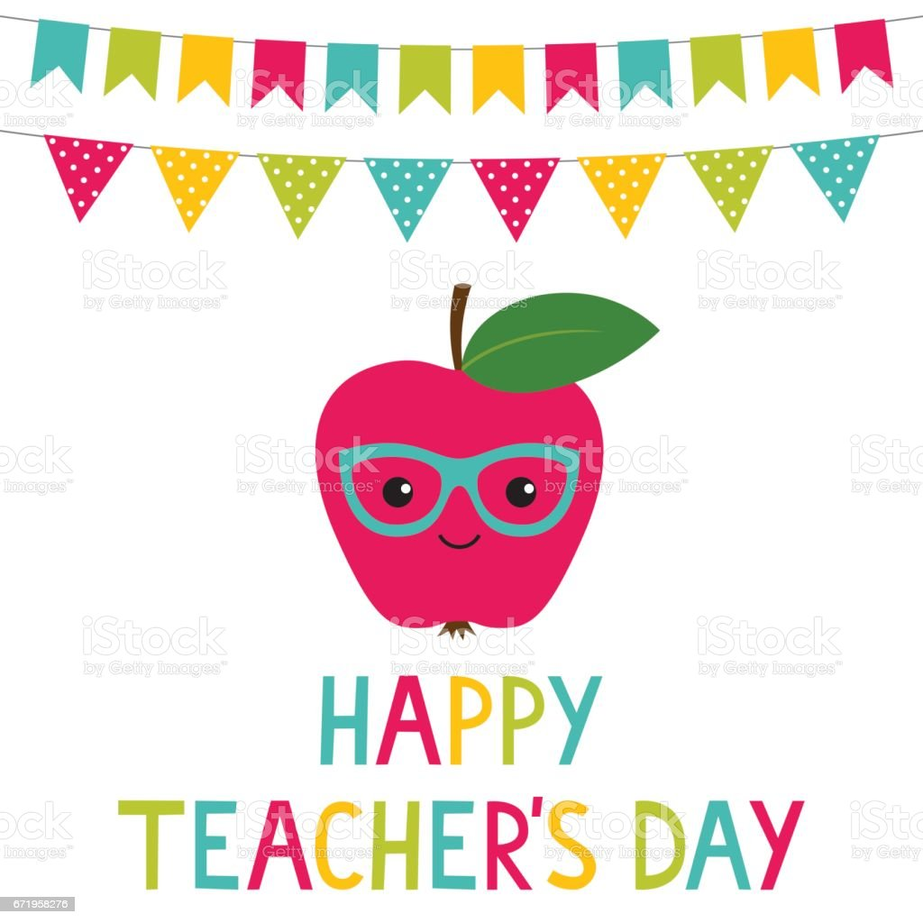 Happy Teacher's Day card vector art illustration