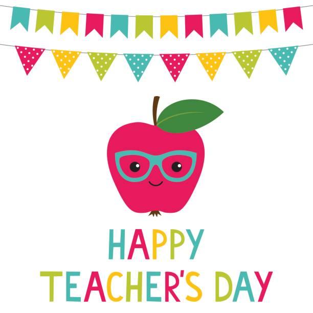 Happy Teacher's Day card Happy Teacher's Day vector card thank you teacher stock illustrations
