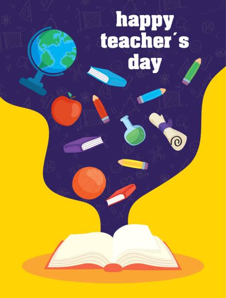 ilustrações de stock, clip art, desenhos animados e ícones de happy teachers day celebration with book and supplies - teacher school solo