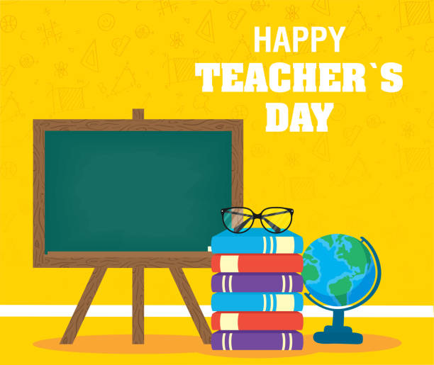 ilustrações de stock, clip art, desenhos animados e ícones de happy teachers day celebration with chalkboard and books - teacher school solo
