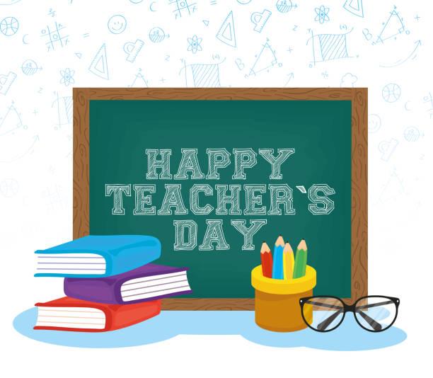 happy teachers day celebration with chalkboard and books happy teachers day celebration with chalkboard and books vector illustration design thank you teacher stock illustrations