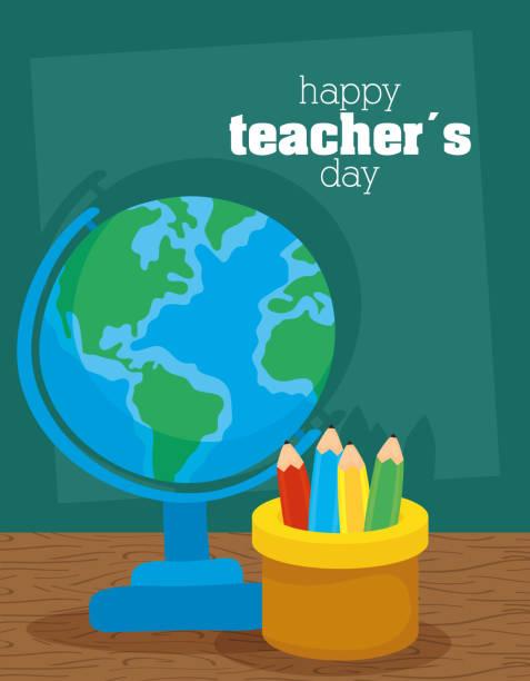 ilustrações de stock, clip art, desenhos animados e ícones de happy teachers day celebration with earth map and pencils holders - teacher school solo