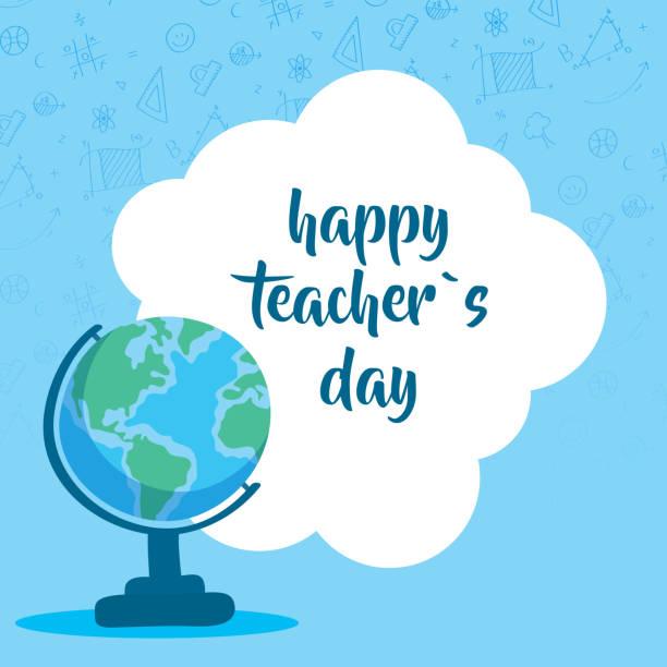 ilustrações de stock, clip art, desenhos animados e ícones de happy teachers day celebration with earth map - teacher school solo