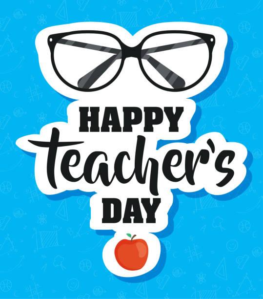 happy teachers day celebration with eyeglasses happy teachers day celebration with eyeglasses vector illustration design thank you teacher stock illustrations