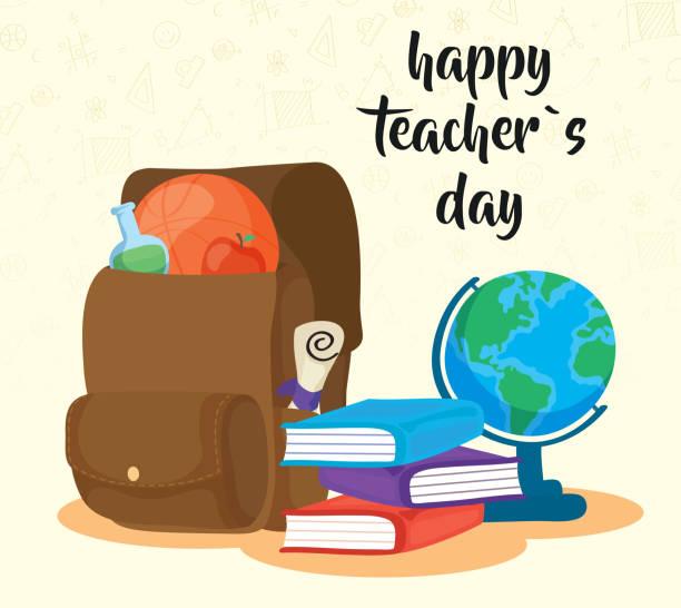 ilustrações de stock, clip art, desenhos animados e ícones de happy teachers day celebration with supplies - teacher school solo