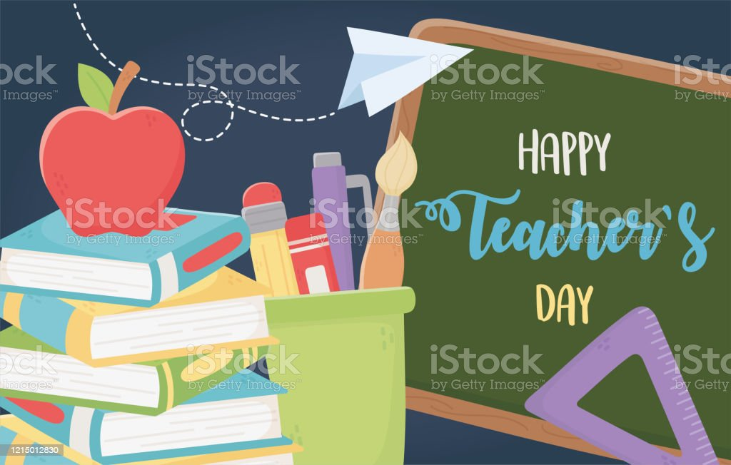 Happy Teachers Day Chalkboard School Apple Ruler Books Supplies Stock Illustration Download Image Now Istock