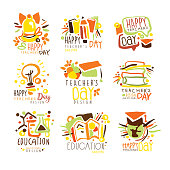 Happy Teachers Day Colorful Graphic Design Template Logo Series,Hand Drawn Vector Stencils