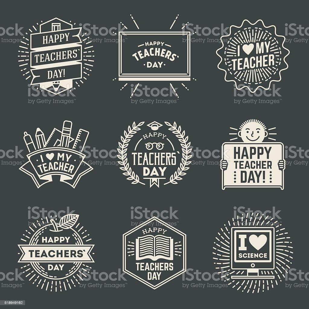 Happy Teachers` Day design insignias logotypes set 1. vector art illustration