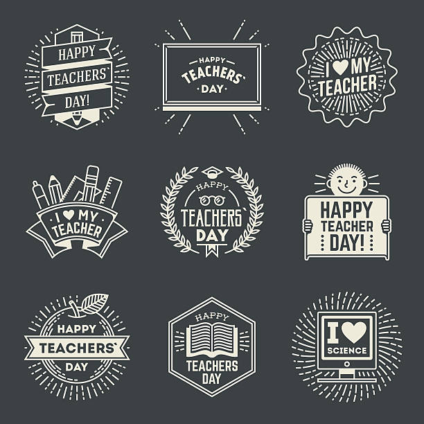 Happy Teachers` Day design insignias logotypes set 1. Happy Teachers` Day design insignias logotypes set 1. Thank you signs for teacher appreciation. Vector symbols elements. Thank you notes for teacher. thank you teacher stock illustrations