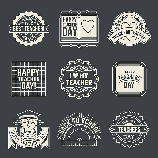 happy teachers` day design insignias logotypes set 2. - thank you teacher stock illustrations, clip art, cartoons, & icons