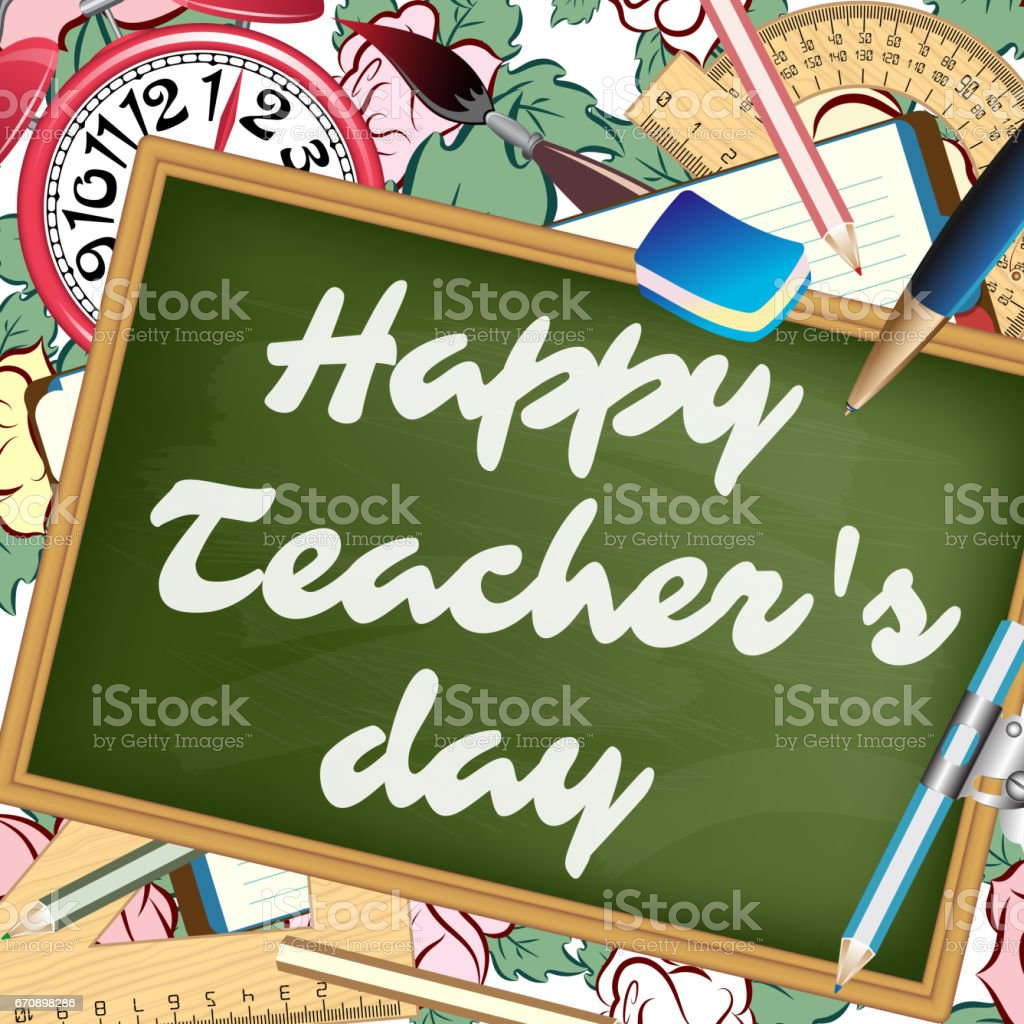Happy teachers day greeting card stock vector art more images of happy teachers day greeting card royalty free happy teachers day greeting card stock vector art m4hsunfo