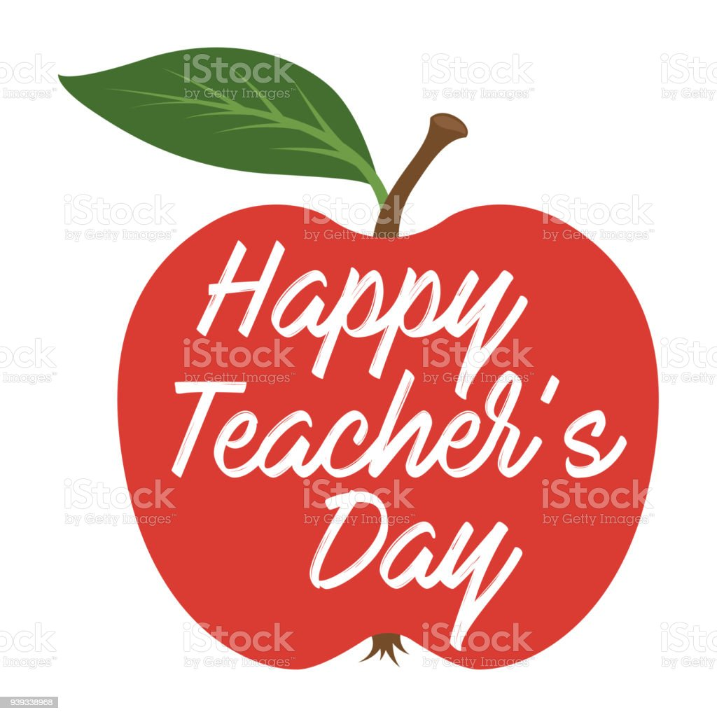 Happy Teachers Day. Greeting card vector art illustration
